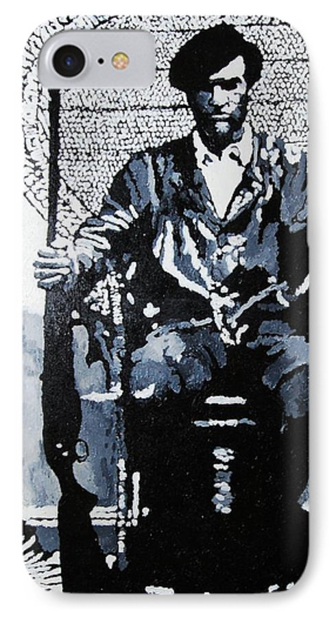 Black Panther IPhone 7 Case featuring the painting Huey Newton Minister Of Defense Black Panther Party by Lauren Luna