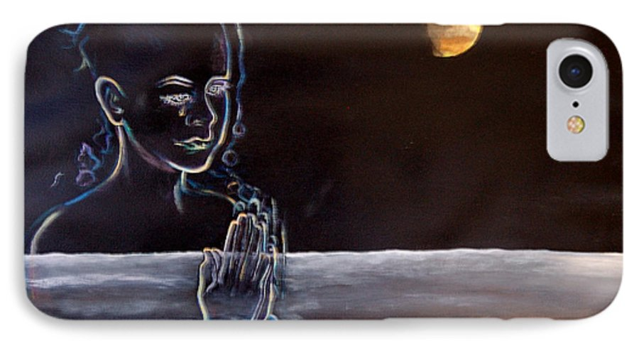 Moon IPhone 7 Case featuring the painting Human Spirit Moonscape by Susan Moore