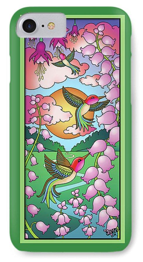 Hummingbirds IPhone 7 Case featuring the digital art Hummingbird Sunrise by Eleanor Hofer