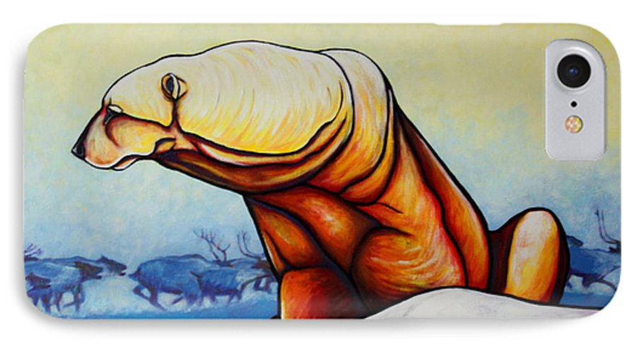 Wildlife IPhone 7 Case featuring the painting Hunger Burns - Polar Bear And Caribou by Joe Triano