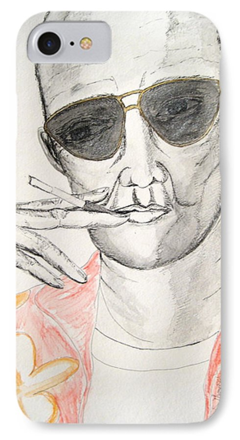 Hunter Thompson Gonzo Journalist Portrait Man Darkestartist Darkest Artist IPhone 7 Case featuring the painting Hunter S. Thompson by Darkest Artist