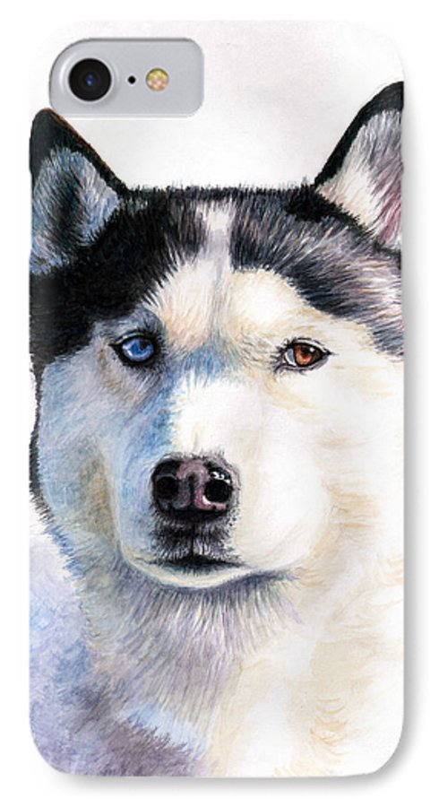 Dog IPhone 7 Case featuring the painting Husky Blue by Nicole Zeug