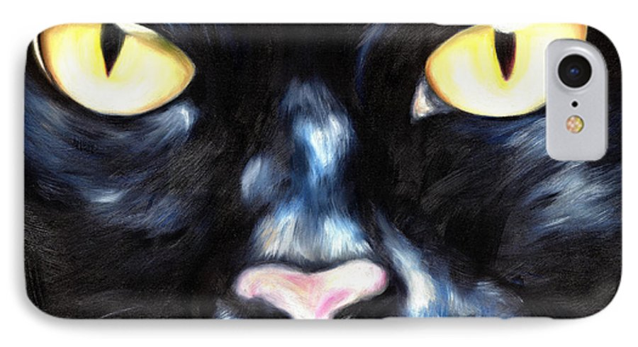 Black Cat IPhone 7 Case featuring the painting I Am Night by Hiroko Sakai