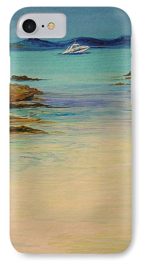 Seascape Original Painting IPhone 7 Case featuring the painting Ibiza In The Distance.... by Lizzy Forrester