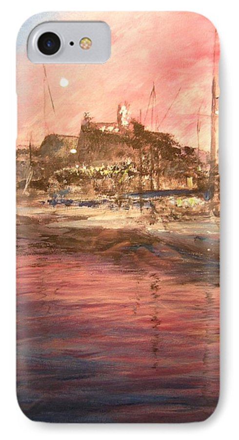 Yachts IPhone 7 Case featuring the painting Ibiza Old Town At Sunset by Lizzy Forrester