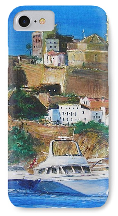Original Landscape Painting IPhone 7 Case featuring the painting Ibiza Town by Lizzy Forrester
