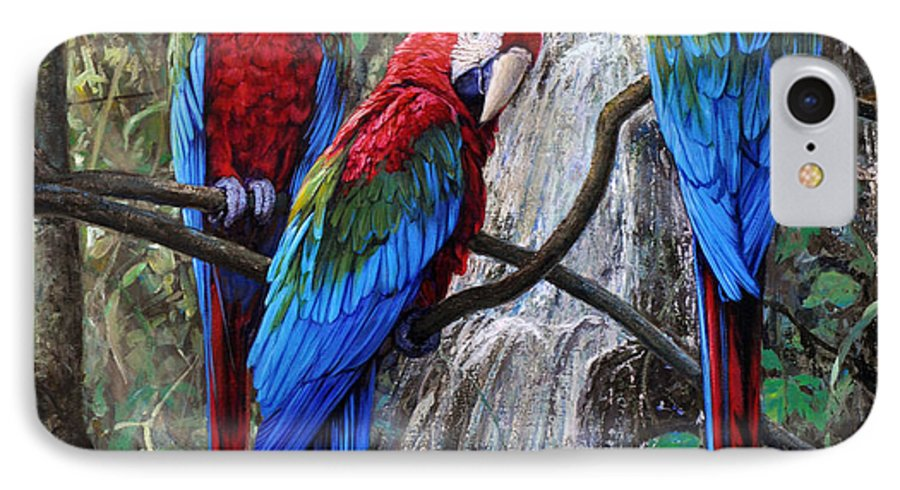 Macaws IPhone 7 Case featuring the painting In Front Of The Cascade by Gabriel Hermida