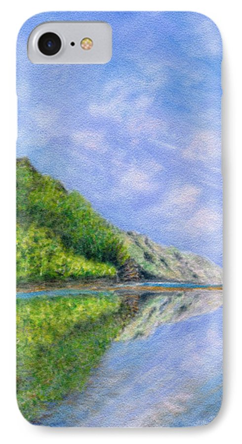 Rainbow Colors Pastel IPhone 7 Case featuring the painting In Reflection by Kenneth Grzesik