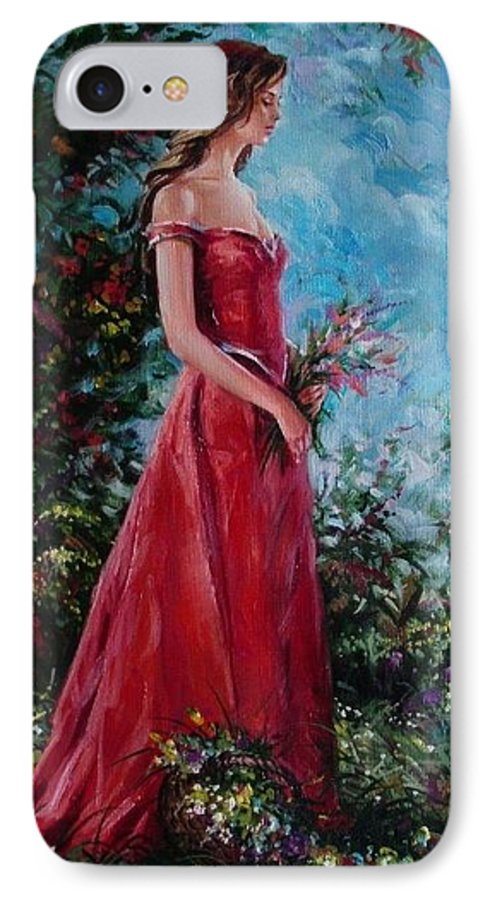 Figurative IPhone 7 Case featuring the painting In Summer Garden by Sergey Ignatenko