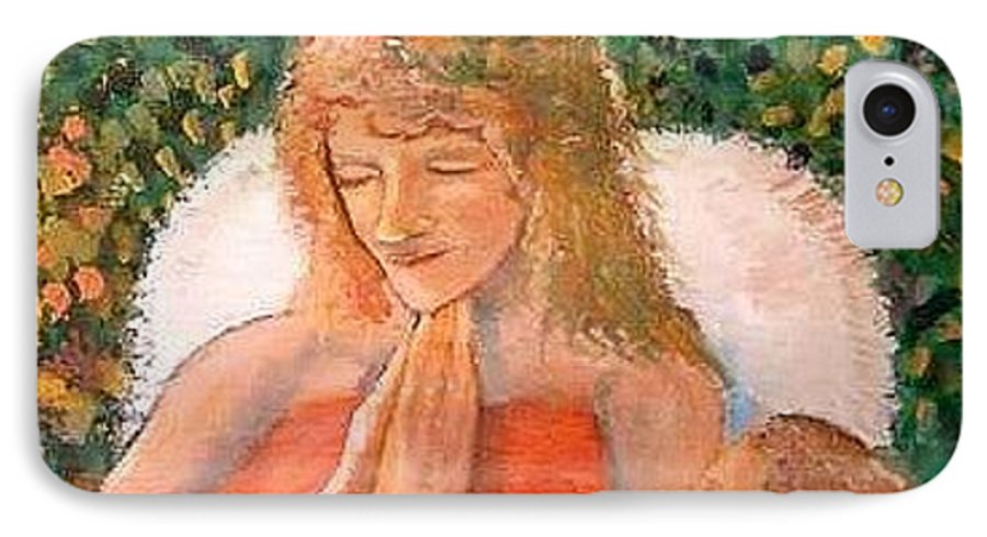 Angels IPhone 7 Case featuring the painting In The Garden We Pray by J Bauer