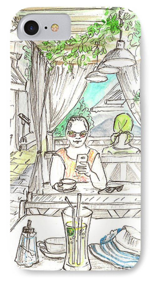Cafe IPhone 7 Case featuring the painting In The Summer Cafe by Yana Sadykova
