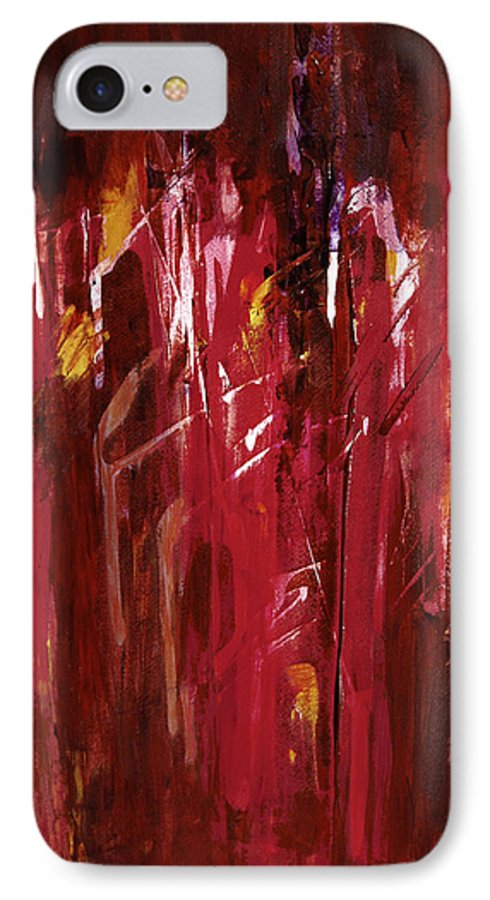 Abstract IPhone 7 Case featuring the painting Initiation by Tara Moorman