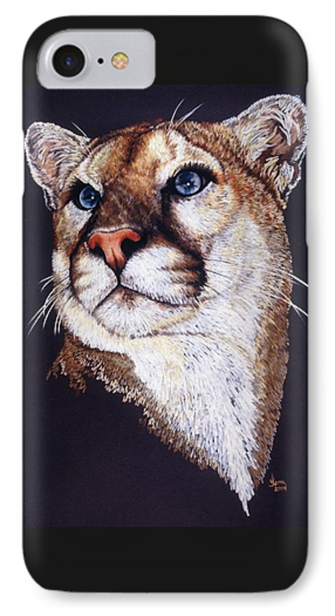 Cougar IPhone 7 Case featuring the drawing Intense by Barbara Keith