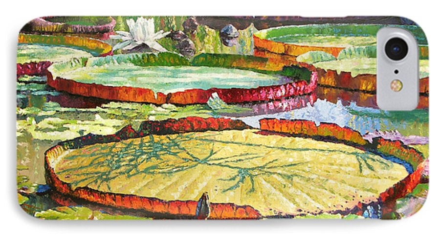 Garden Pond IPhone 7 Case featuring the painting Interwoven Beauty by John Lautermilch