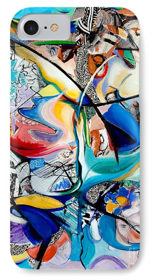Abstract IPhone 7 Case featuring the painting Intimate Glimpses - Journey Of Life by Kerryn Madsen-Pietsch