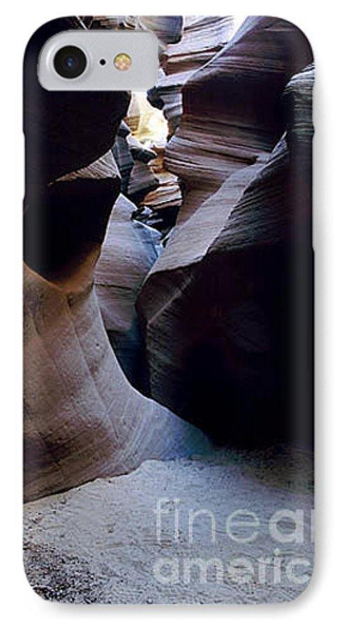 Slot Canyons IPhone 7 Case featuring the photograph Into The Depths by Kathy McClure