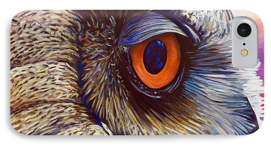 Owl IPhone 7 Case featuring the painting Introspection by Brian Commerford