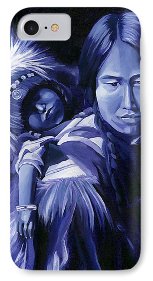 Native American IPhone 7 Case featuring the painting Inuit Mother And Child by Nancy Griswold