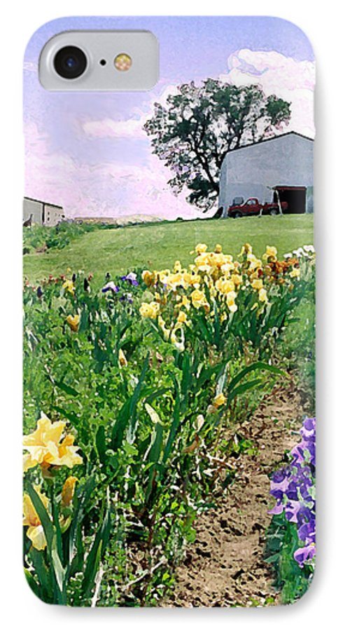 Landscape Painting IPhone 7 Case featuring the photograph Iris Farm by Steve Karol