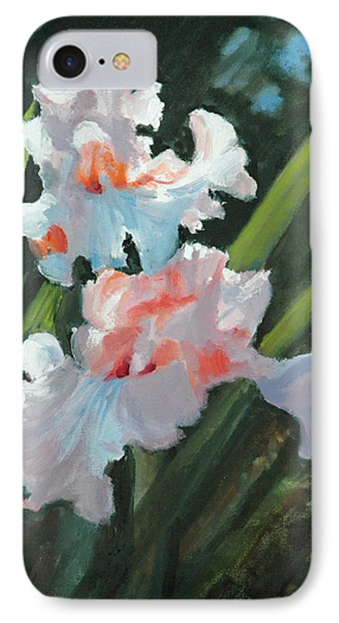 Irises IPhone 7 Case featuring the painting Iris Pour Une Belle Femme by Glenn Secrest