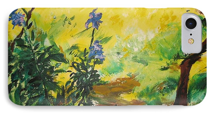 Sunlight IPhone 7 Case featuring the painting Irises And Sunlight by Lizzy Forrester
