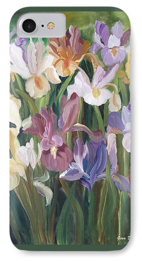 Irises IPhone 7 Case featuring the painting Irises by Gina De Gorna