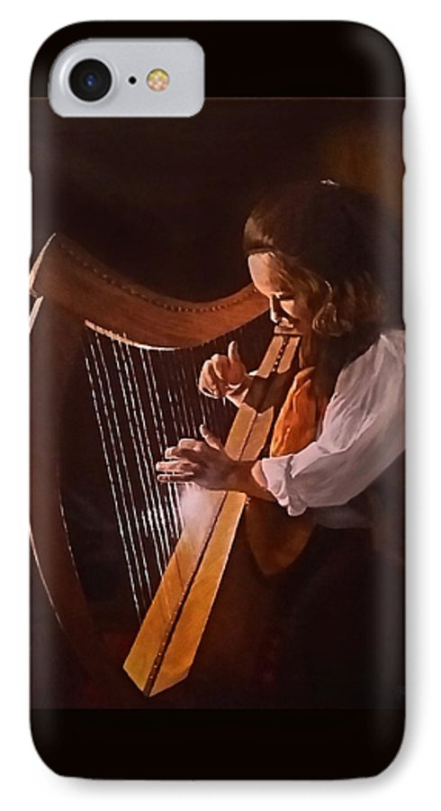 Acrylic IPhone 7 Case featuring the painting Irish Harp by Sheryl Gallant