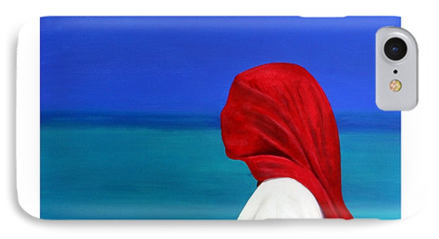 Red IPhone 7 Case featuring the painting It Could Be You by Fiona Jack
