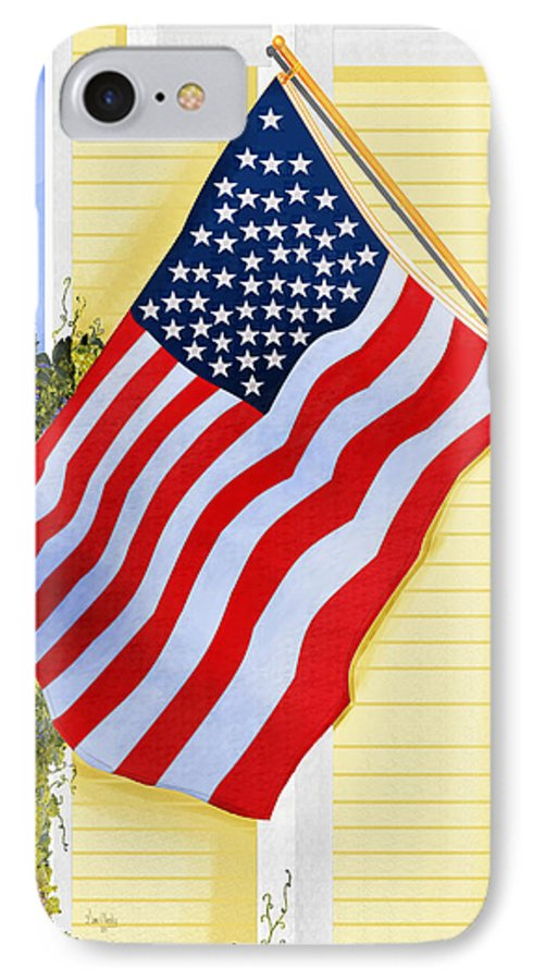 U.s. Flag IPhone 7 Case featuring the painting It Will Fly Until They All Come Home by Anne Norskog