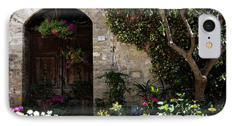 Flower IPhone 7 Case featuring the photograph Italian Front Door Adorned With Flowers by Marilyn Hunt
