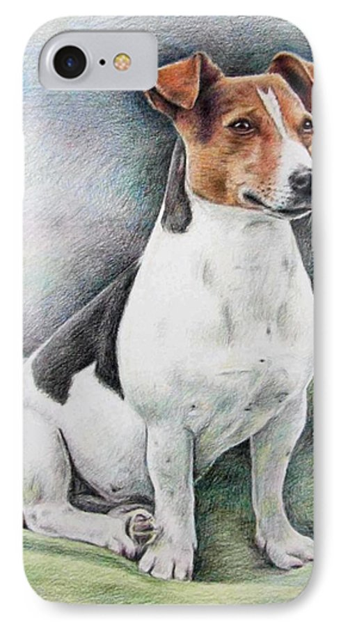 Dog IPhone 7 Case featuring the drawing Jack Russell Terrier by Nicole Zeug