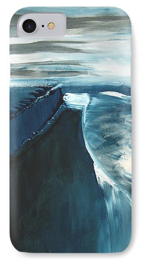 Abstract Acrylic Artist Blue Darkest Darkestartist January Painting Water Ice IPhone 7 Case featuring the painting January by Darkest Artist