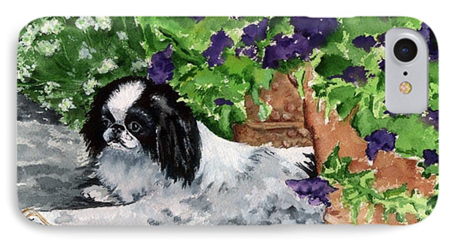 Japanese Chin IPhone 7 Case featuring the painting Japanese Chin Puppy And Petunias by Kathleen Sepulveda