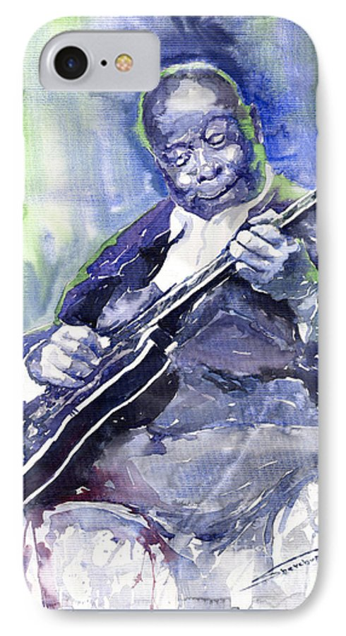 Jazz IPhone 7 Case featuring the painting Jazz B B King 02 by Yuriy Shevchuk