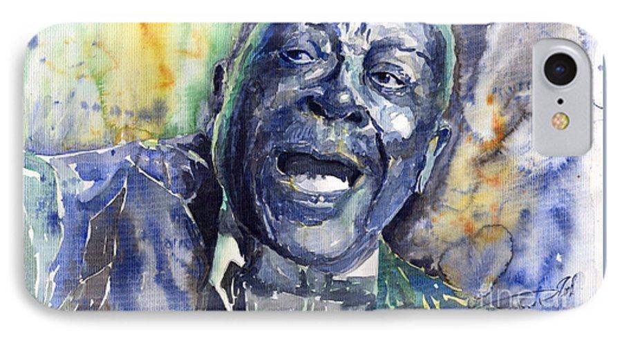 Jazz IPhone 7 Case featuring the painting Jazz B.b.king 04 Blue by Yuriy Shevchuk