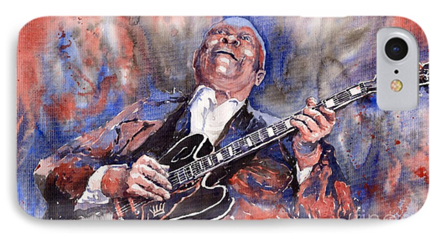 Jazz IPhone 7 Case featuring the painting Jazz B B King 05 Red A by Yuriy Shevchuk