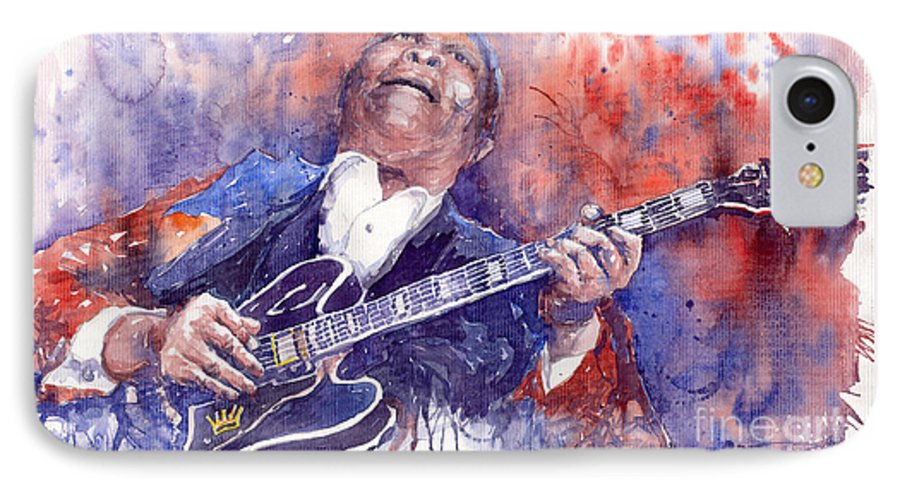 Jazz IPhone 7 Case featuring the painting Jazz B B King 05 Red by Yuriy Shevchuk