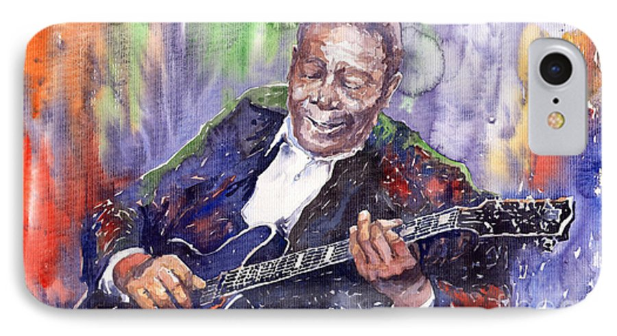 Jazz IPhone 7 Case featuring the painting Jazz B B King 06 by Yuriy Shevchuk
