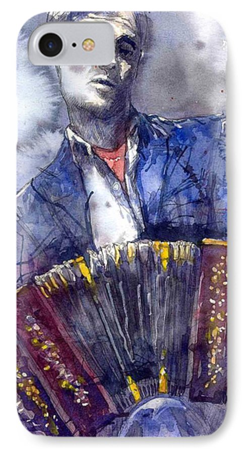 Jazz IPhone 7 Case featuring the painting Jazz Concertina Player by Yuriy Shevchuk