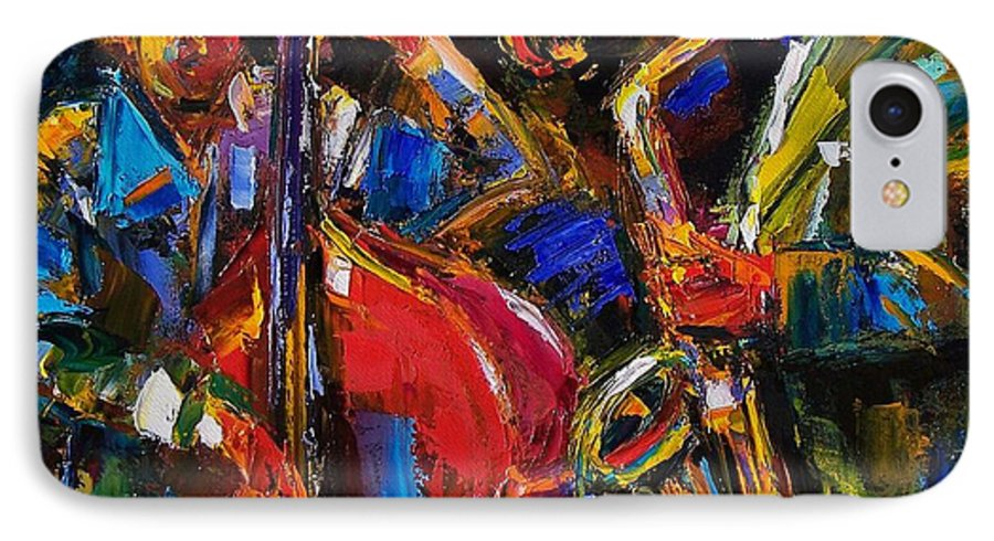Jazz IPhone 7 Case featuring the painting Jazz by Debra Hurd