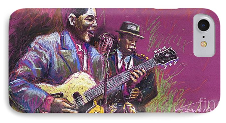 Jazz IPhone 7 Case featuring the painting Jazz Guitarist Duet by Yuriy Shevchuk