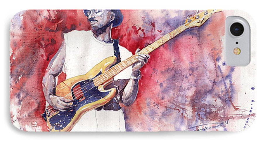 Jazz IPhone 7 Case featuring the painting Jazz Guitarist Marcus Miller Red by Yuriy Shevchuk