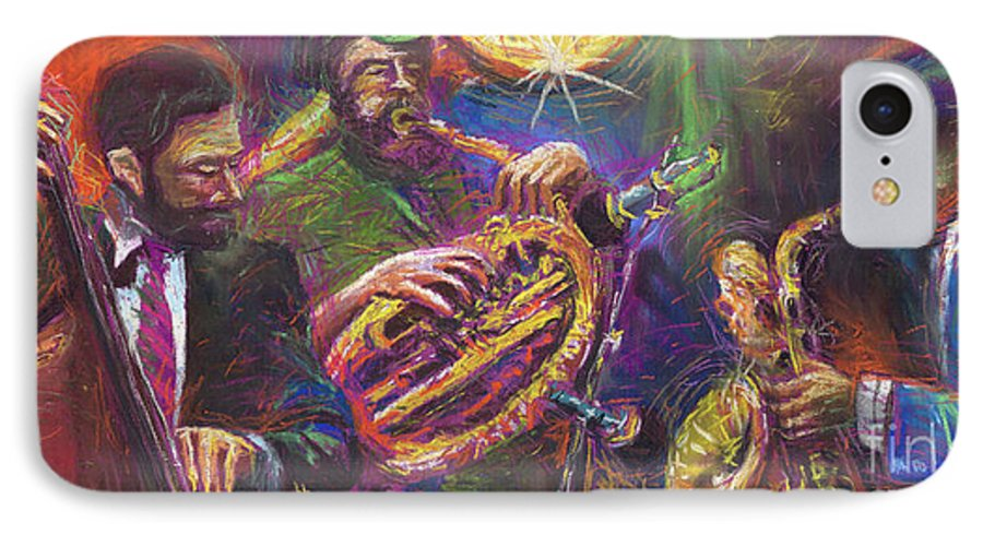 Jazz IPhone 7 Case featuring the painting Jazz Jazzband Trio by Yuriy Shevchuk