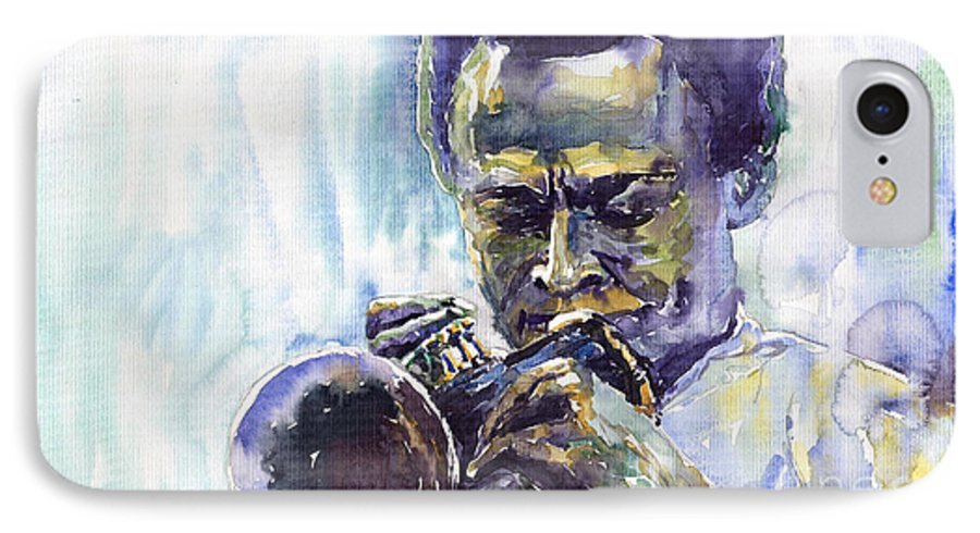 Jazz Miles Davis Music Musiciant Trumpeter Portret IPhone 7 Case featuring the painting Jazz Miles Davis 10 by Yuriy Shevchuk