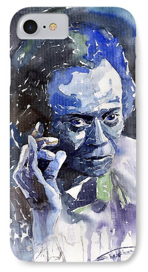 Jazz IPhone 7 Case featuring the painting Jazz Miles Davis 11 Blue by Yuriy Shevchuk