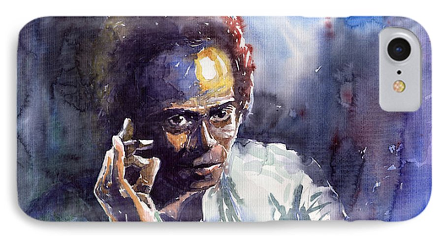 Jazz Watercolor Watercolour Miles Davis Portret IPhone 7 Case featuring the painting Jazz Miles Davis 11 by Yuriy Shevchuk