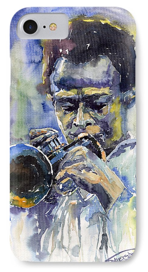 Jazz IPhone 7 Case featuring the painting Jazz Miles Davis 12 by Yuriy Shevchuk