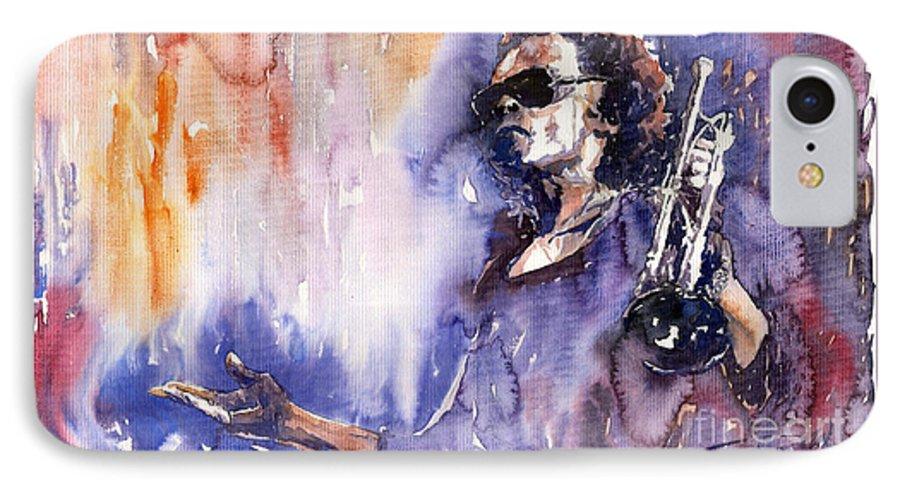 Jazz IPhone 7 Case featuring the painting Jazz Miles Davis 14 by Yuriy Shevchuk