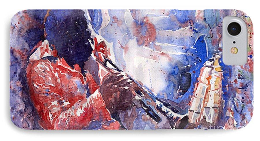 Jazz IPhone 7 Case featuring the painting Jazz Miles Davis 15 by Yuriy Shevchuk