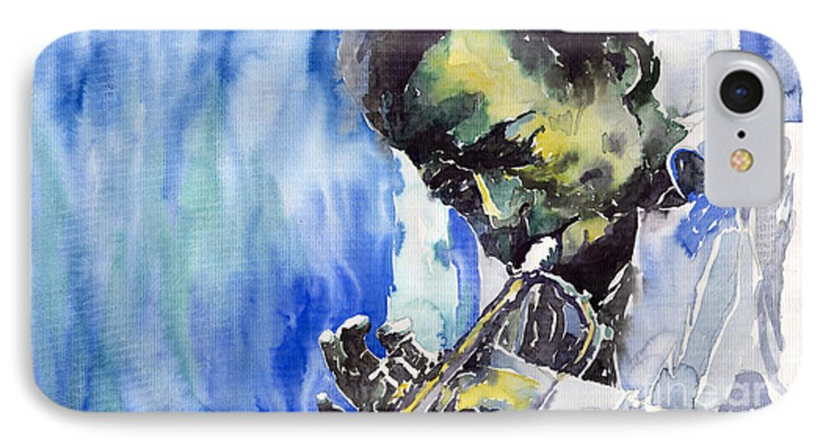 IPhone 7 Case featuring the painting Jazz Miles Davis 5 by Yuriy Shevchuk